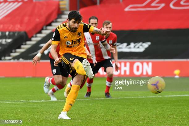 Ruben Neves of Wolverhampton Wanderers scores their team's first goal from the penalty spot during the Premier League match between Southampton and...