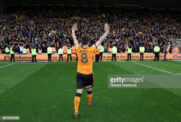 Ruben Neves of Wolverhampton Wanderers shows appreciation to the fans following the Sky Bet Championship match between Wolverhampton Wanderers and...