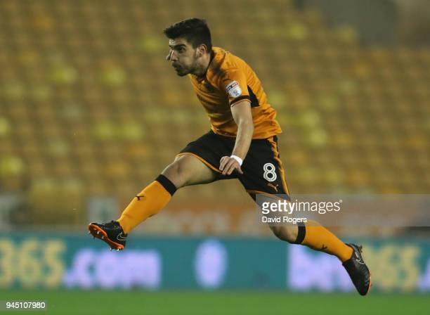 Ruben Neves of Wolverhampton Wanderers takes a shot at goal during the Sky Bet Championship match between Wolverhampton Wanderers and Derby County at...