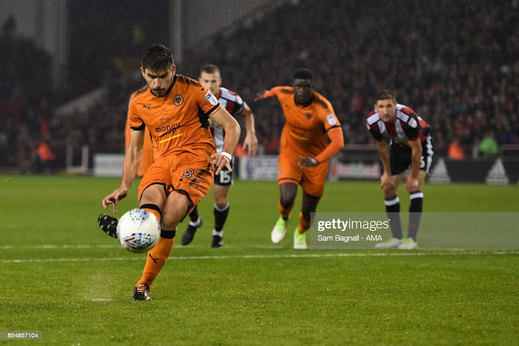 Ruben Neves of Wolverhampton Wanderers takes penalty kick which missed during the Sky Bet Championship match between Sheffield United and Wolverhampton at Bramall Lane on September 27, 2017 in Sheffield, England.