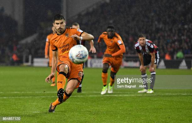 Ruben Neves of Wolverhampton Wanderers takes penalty kick which missed during the Sky Bet Championship match between Sheffield United and...