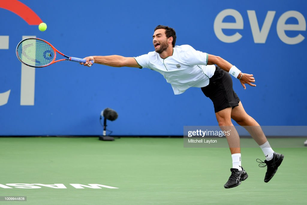 Ruben Noah of the U.S. returns a forehand shot to John Isner of U.S. during Day Six of the Citi Open at the Rock Creek Tennis Center on August 2, 2018 in Washington, DC.