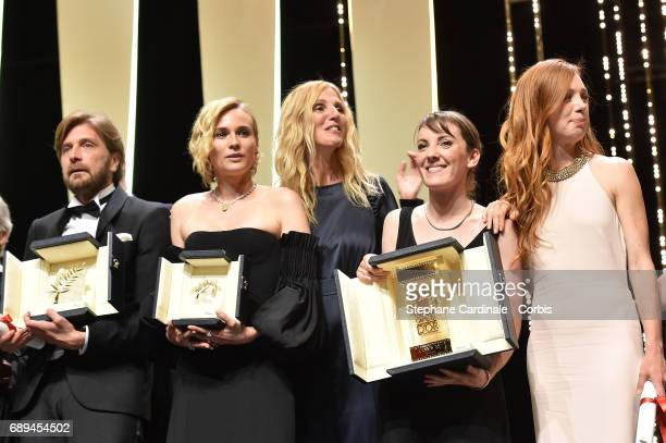 Ruben Ostlund winner of the Palme d'Or for the movie 'The Square' Diane Kruger winner of the award for Best Actress for her part in the movie 'In The...