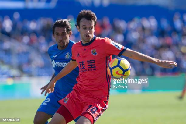 Ruben Pardo and Damian during the La Liga Santander match between Getafe CF and Real Sociedad at Coliseum Alfonso Perez stadium on october 29 2017 in...