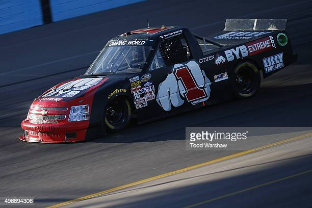 Ruben Pardo drives the BYB Chevrolet during practice for the NASCAR Camping World Truck Series Lucas Oil 150 at Phoenix International Raceway on...