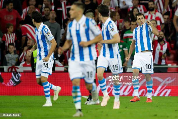 Ruben Pardo of Real Sociedad Gorosabel of Real Sociedad Aritz Elustondo of Real Sociedad Mikel Oyarzabal of Real Sociedad during the La Liga...