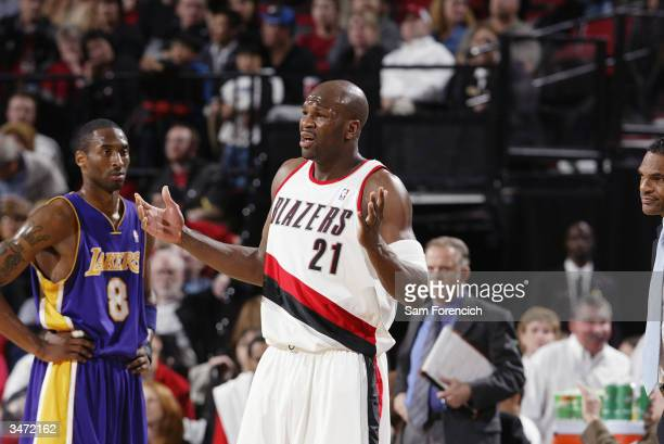 Ruben Patterson of the Portland Trail Blazers reacts on the court during the game against the Los Angeles Lakers at the Rose Garden on April 14, 2004...