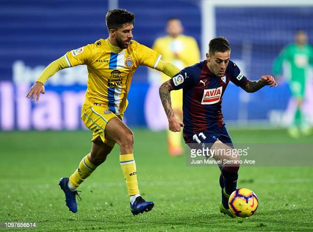 Ruben Pena of SD Eibar duels for the ball with Didac Vila Rosello of RCD Espanyol during the La Liga match between SD Eibar and RCD Espanyol at...