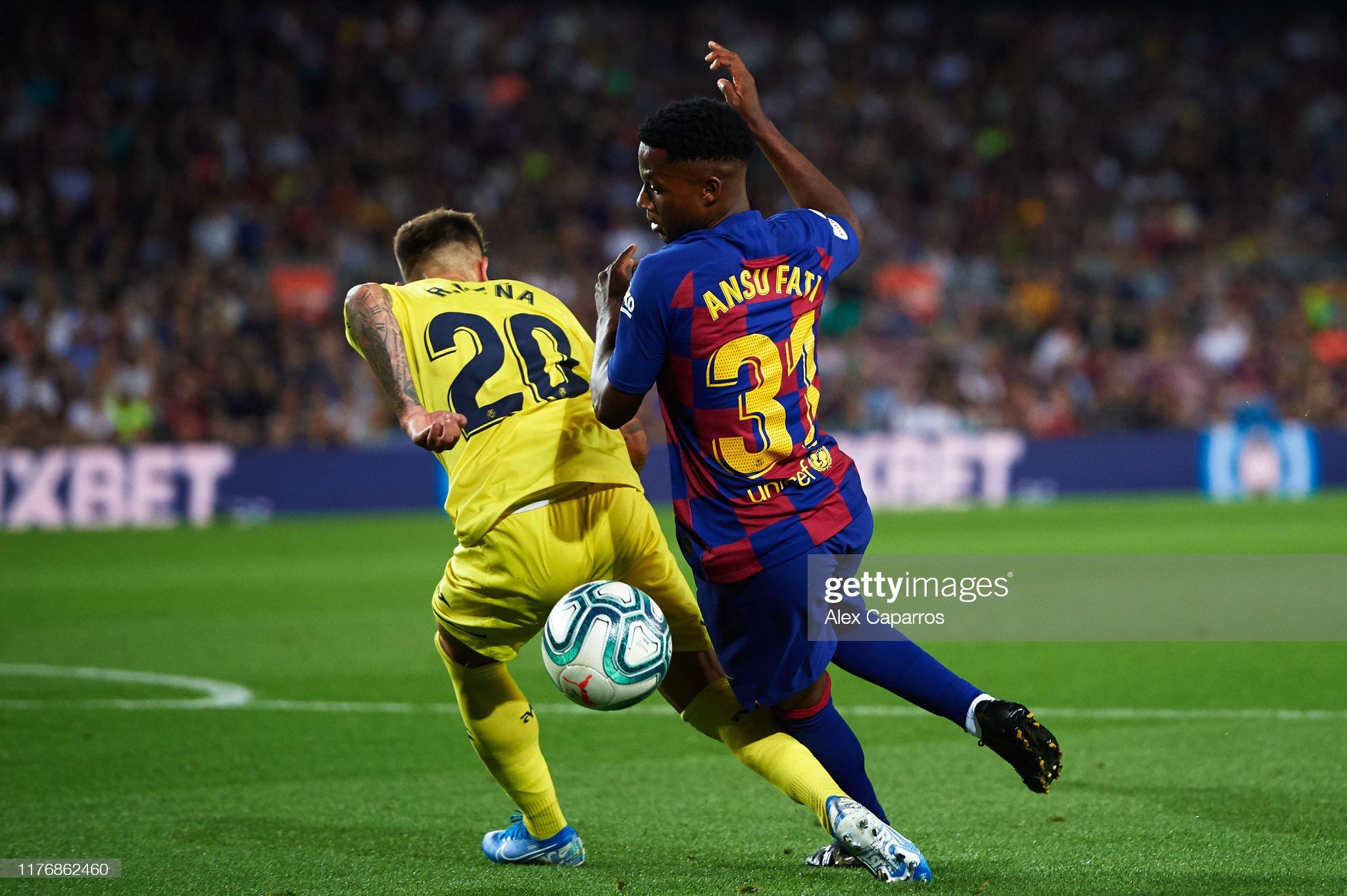 صور مباراة : برشلونة - فياريال 2-1 ( 24-09-2019 )  Ruben-pena-of-villarreal-cf-tackles-ansu-fati-of-fc-barcelona-inside-picture-id1176862460?s=2048x2048