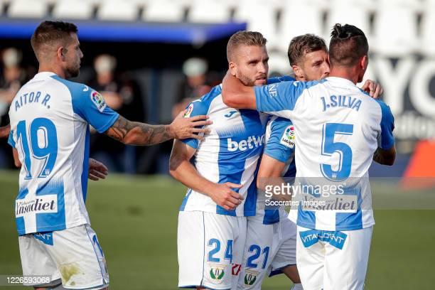 Ruben Perez of Leganes celebrates 1-0 with Aitor Ruibal of Leganes, Kevin Rodrigues of Leganes, Jonathan Silva of Leganes during the La Liga...