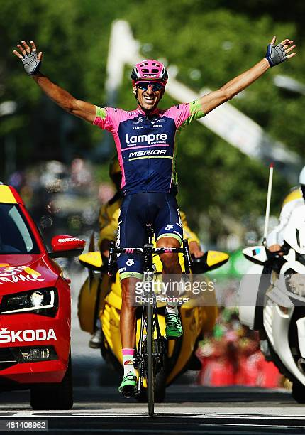 Ruben Plaza Molina of Spain and Lampre-Merida celebrates as he crosses the finish line to win the sixteenth stage of the 2015 Tour de France, a 201km...