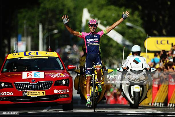 Ruben Plaza of Spain and LampreMerida celebrates as he crosses the finish line to win the sixteenth stage of the 2015 Tour de France a 201km stage...