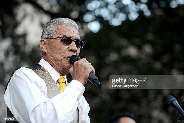 Ruben Ramos performs with Little Joe y la Familia at the Grammy Block Party during SXSW Music Festival at Four Seasons Hotel on March 17 2016 in...