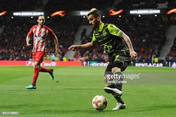 Ruben Ribeiro #7 of Sporting CP during the UEFA Europa League Quarter Final Leg One match between Club Atletico Madrid and Sporting CP at Wanda...