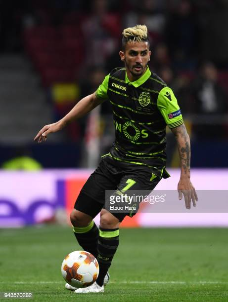 Ruben Ribeiro of Sporting in action during the UEFA Europa League quarter final leg one match between Atletico Madrid and Sporting CP at Wanda...