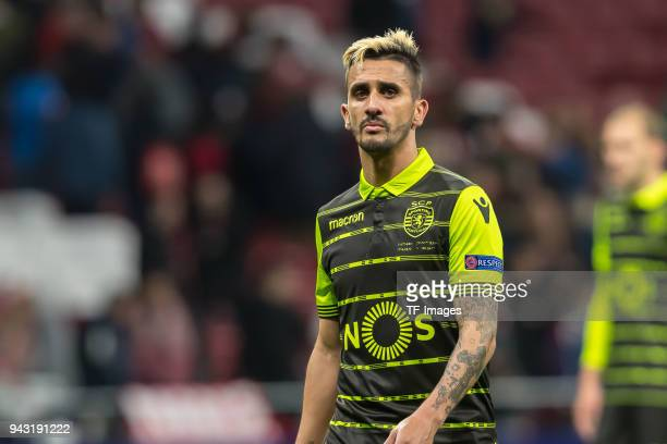 Ruben Ribeiro of Sporting looks on during the UEFA Europa League quarter final leg one match between Atletico Madrid and Sporting CP at Wanda...