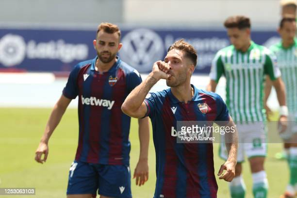 Ruben Rochina of Levante UD celebrates after scoring his team's fourth goal during the La Liga match between Levante UD and Real Betis Balompie at...