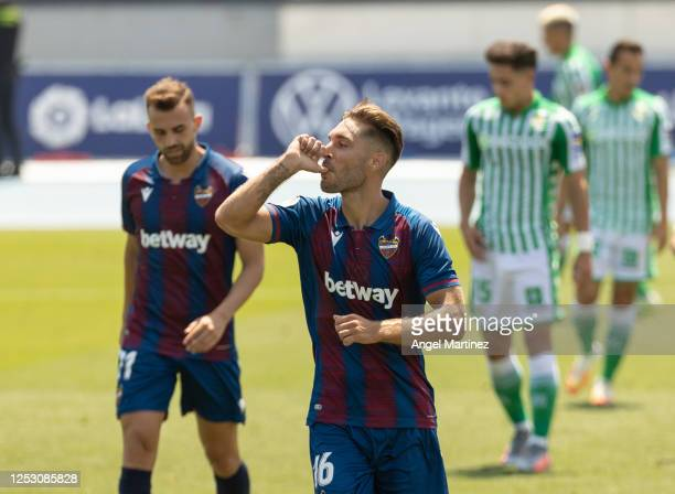 Ruben Rochina of Levante UD celebrates after scoring his team's fourth goal during the Liga match between Levante UD and Real Betis Balompie at...