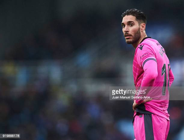 Ruben Rochina of Levante UD looks on during the La Liga match between Real Sociedad and Levante at Estadio de Anoeta on February 18 2018 in San...