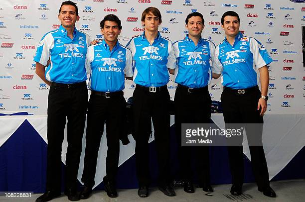 Ruben Rovelo Antonio Perez Esteban Gutierrez Luis Diaz and Guillermo Rojas during a press conference to present a Telmex Team at Autodromo Hermanos...