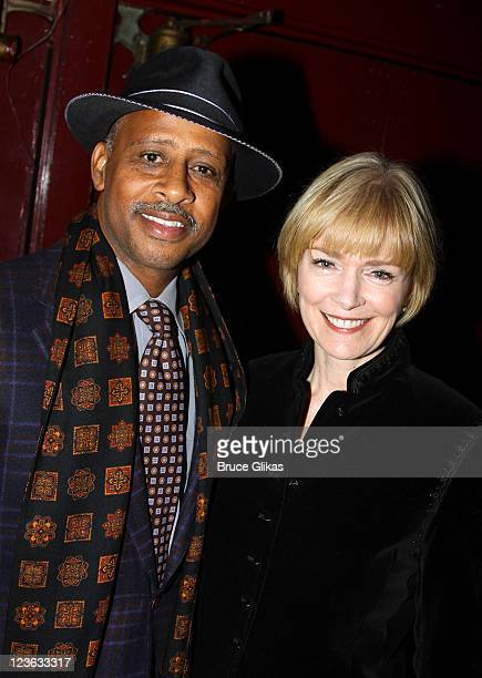 Ruben SantiagoHudson and wife Jeannie Brittan pose at The Opening Night of The Break of Noon at Lucille Lortel Theatre on November 22 2010 in New...