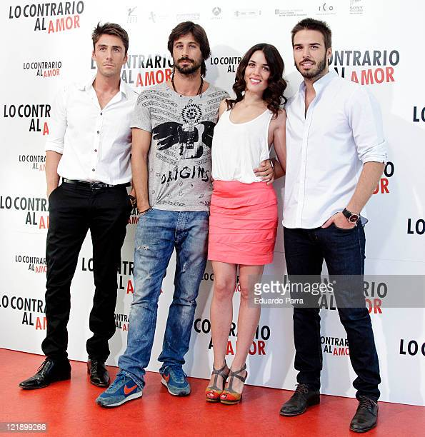Ruben Sanz Hugo Silva Adriana Ugarte and Alex Barahona attend Lo contrario del amor photocall at Sony office on August 23 2011 in Madrid Spain
