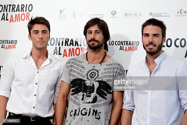 Ruben Sanz Hugo Silva and Alex Barahona attend Lo contrario del amor photocall at Sony office on August 23 2011 in Madrid Spain