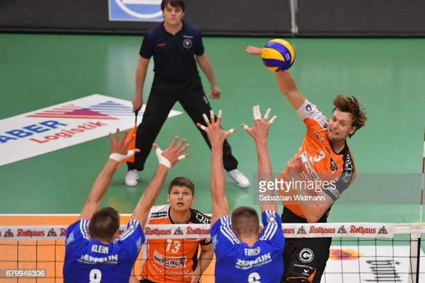 Ruben Schott and Robert Kromm of Berlin Recycling Volleys in action during the Volleyball final playoff match 3 between VFB Friedrichshafen and...