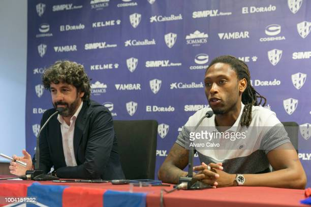 Ruben Semedo is presented by sports director Emilio Vega as new player of Huesca Football team on July 20 2018 in Huesca Spain