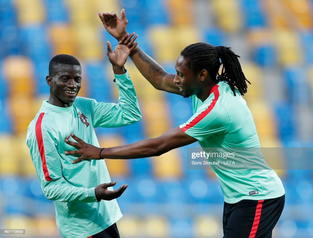 Ruben Semedo (R) of Portugal and team mate Edgar Ie make jokes during the MD-1 training session of the U21 national team of Portugal at Gdynia Sports Arena on June 19, 2017 in Gdynia, Poland.