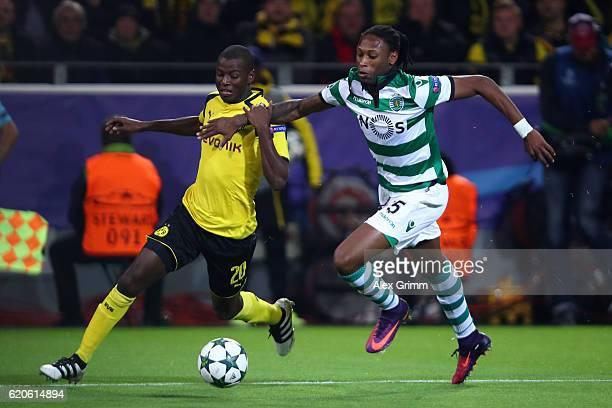 Ruben Semedo of Sporting CP chases down Adrian Ramos of Borussia Dortmund during the UEFA Champions League Group F match between Borussia Dortmund...