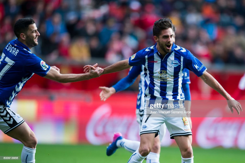 Ruben Sobrino of Deportivo Alaves celebrates after scoring goal during the La Liga match between Real Sporting de Gijon and Deportivo Alaves at Estadio El Molinon on February 5, 2017 in Gijon, Spain.