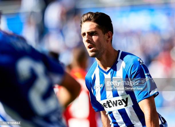 Ruben Sobrino of Deportivo Alaves celebrates after scoring his team's second goal during the La Liga match between Deportivo Alaves and RCD Espanyol...