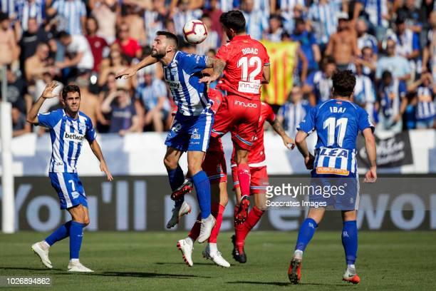 Ruben Sobrino Pozuelo of Deportivo Alaves CF Borja Gonzalez Tomas of Deportivo Alaves CF Didac Vila Rosello of RCD Espanyol Ibai Gomez Perez of...