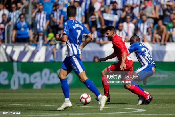 Ruben Sobrino Pozuelo of Deportivo Alaves CF Didac Vila Rosello of RCD Espanyol Wakaso Mubarak of Deportivo Alaves CF during the La Liga Santander...