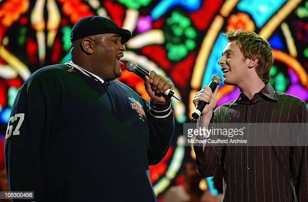Ruben Studdard and Clay Aiken during 31st Annual American Music Awards Day One Rehearsals at Shrine Auditorium in Los Angeles California United States