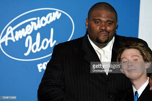 Ruben Studdard and Clay Aiken during American Idol 2 Finals Press Room at Universal Amphitheatre in Universal City CA United States