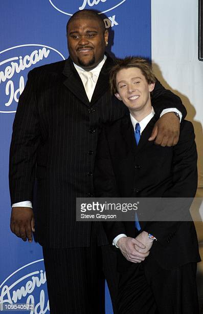Ruben Studdard and Clay Aiken during 'American Idol' Season 2 Finale Press Room at Universal Amphitheater in Universal City California United States