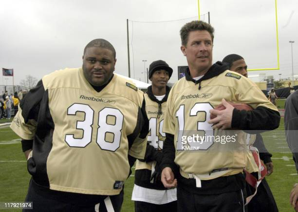 Ruben Studdard and Dan Marino during MTV's Rock N Jock Super Bowl XXXVIII at MTV Compound Near Reliant Stadium in Houston Texas United States