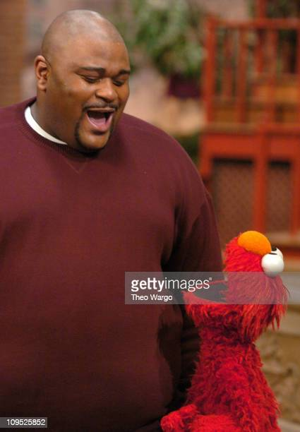 Ruben Studdard and Elmo during American Idol Winner Ruben Studdard Sings the Alphabet Song with Elmo on Sesame Street This Piece will air in April...