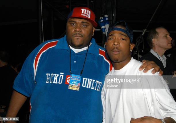 Ruben Studdard and Ja Rule during Z100's Zootopia 2003 Backstage at Giants Stadium in East Rutherford New Jersey United States