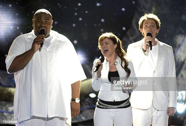 Ruben Studdard Winner of American Idol 2003 Kelly Clarkson and Clay Aiken at the Universal Amphitheatre in Westwood California
