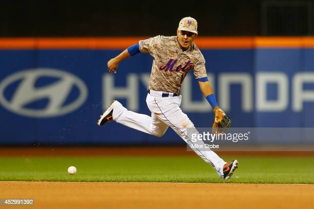 Ruben Tejada of the New York Mets in action against the Philadelphia Phillies on July 28 2014 at Citi Field in the Flushing neighborhood of the...
