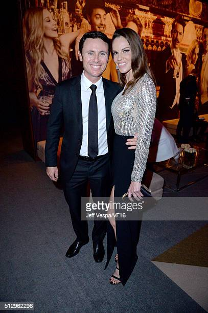 Ruben Torres and actress Hilary Swank attend the 2016 Vanity Fair Oscar Party Hosted By Graydon Carter at the Wallis Annenberg Center for the...