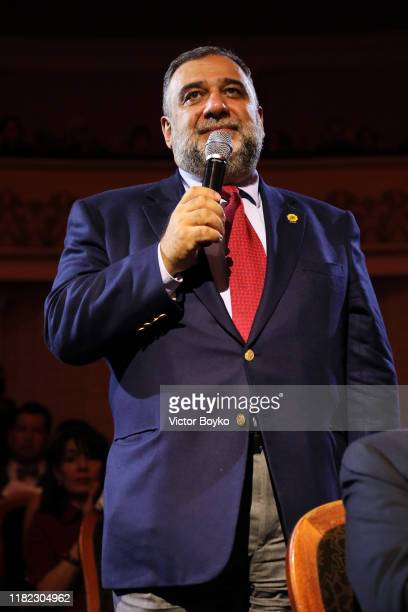 Ruben Vardanyan speaks during the 2019 Aurora Forum on October 20 2019 in Yerevan Armenia