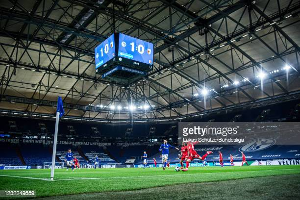 Ruben Vargas of Augsburg in action during the Bundesliga match between FC Schalke 04 and FC Augsburg at Veltins-Arena on April 11, 2021 in...