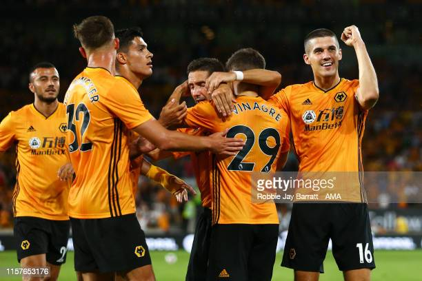 Ruben Vinagre of Wolverhampton Wanderers celebrates after scoring a goal to make it 20 during the UEFA Europa League Second Qualifying round 1st Leg...