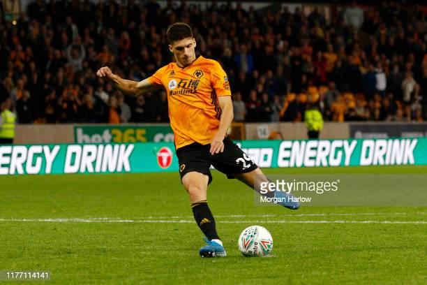 Ruben Vinagre of Wolverhampton Wanderers shoot his teams penalty during the Carabao Cup Third Round match between Wolverhampton Wanderers and Reading...