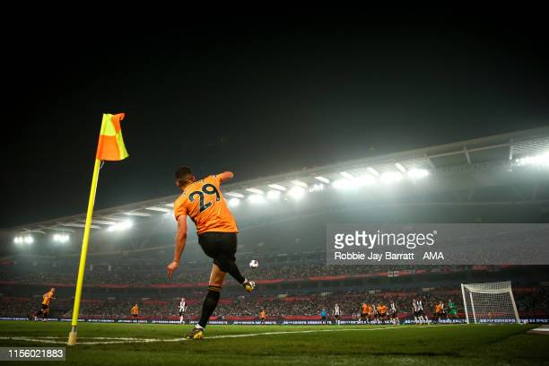 Ruben Vinagre of Wolverhampton Wanderers takes a corner during the Premier League Asia Trophy 2019 fixture between Newcastle United and Wolverhampton...