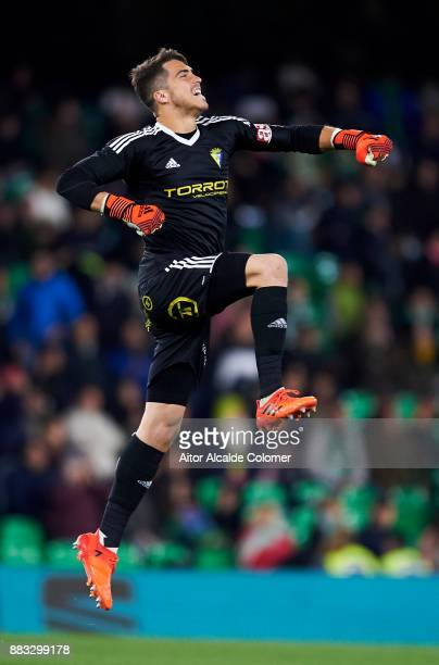 Ruben Yanez of Cadiz reacts during the Copa del Rey Round of 32 Second Leg match between Real Betis Balompie and Cadiz CF at Estadio Benito...
